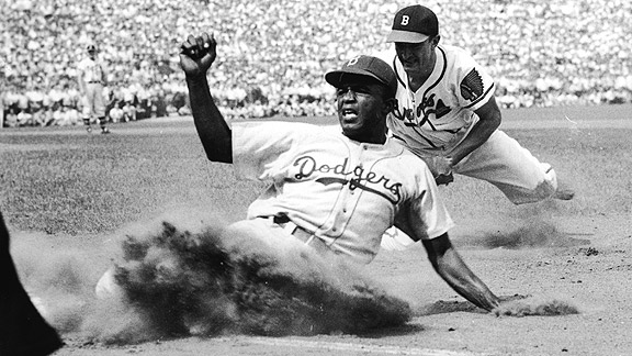 Jackie Robinson against the Boston Braves in 1947