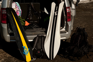 Two of many boards in Nyvelt's ever-growing quiver.