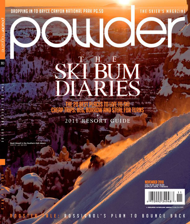 The November cover of Powder magazine, shot by Jay Beyer in the Unidentified Southern Utah Desert.
