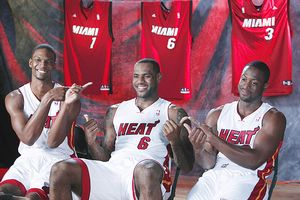 Chris Bosh, LeBron Jame, and Dwyane Wade