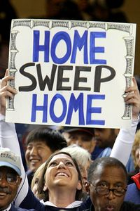 New York Yankees fan holds up a sign