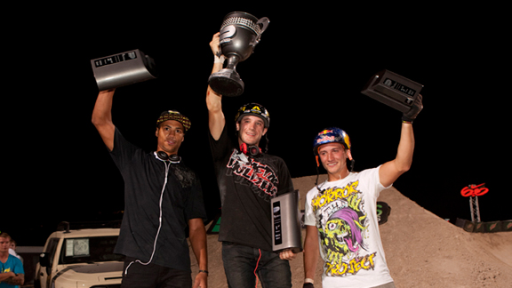 BMX dirt podium, from left to right: TJ Ellis (second), Brandon Dosch (first) and Anthony Napolitan (third.)