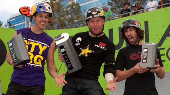 BMX park podium, from left to right: Daniel Dhers (second), Ryan Nyquist (first) and Garrett Reynolds (third.)
