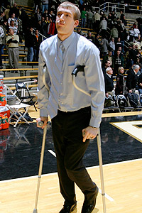Robbie Hummel is no stranger to knee rehabilitation, having torn the same right ACL he tore Saturday in February, when he is shown in crutches.