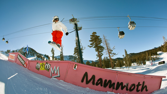 Two-time X Games gold medalist in slopestyle Kaya Turski slides a rail in Mammoth's main park.