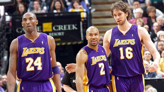 Kobe Bryant, Derek Fisher, and Pau Gasol