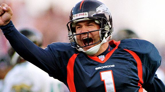 Jason Elam in 1998 tying Tom Dempsey's record for longest NFL field goal at 63 yards