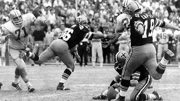 Tom Dempsey kicking the recrod longest field goal, at 63 yards