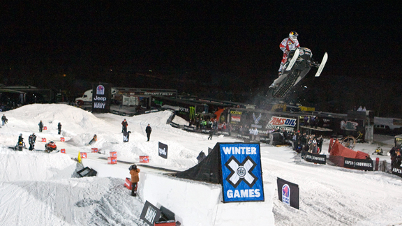 Levi Lavallee won gold at the first-ever Snowmobile Knockout competition at 2010's X Games.