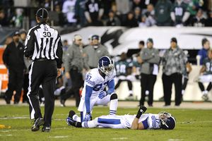 AP Photo/Miles Kennedy Austin Collie suffered a concussion Sunday and ...