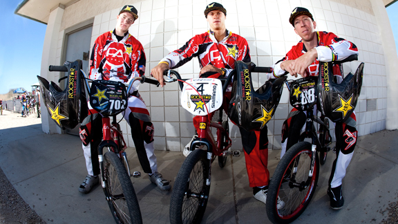 A portion of the very fast Free Agent race team, from left to right: Connor Fields, Maris Strombergs and Kyle Bennett.