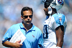 Titans coach Jeff Fisher and quarterback Vince Young
