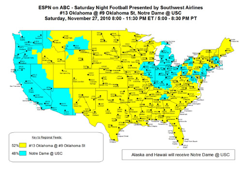College Football TV Maps Week - Us college football map