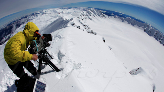 Dave Mossop on the rim of Volcan Peyehue in Chile.