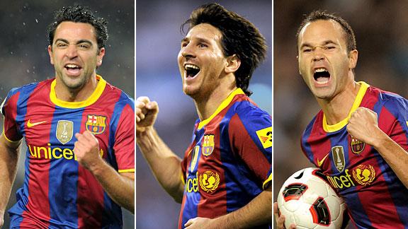 Xavi, Messi & Iniesta