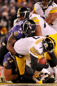 Terrell Suggs and Ben Roethlisberger