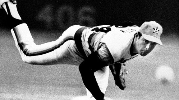 Nolan Ryan during a no-hitter while with the Houston Astros in 1981
