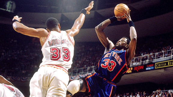 Patrick Ewing and Alonzo Mourning in the 1997 NBA playoffs