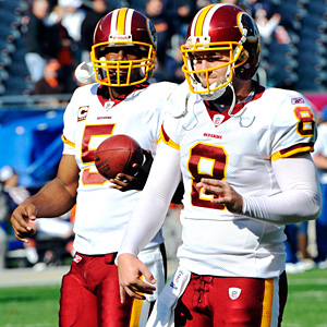 Washington Redskins quarterback Donovan McNabb (5) and quarterback Rex Grossman