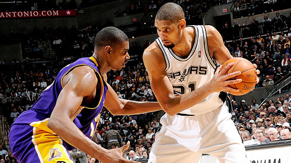 Tim Duncan and Andrew Bynum