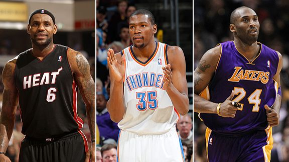 LeBron James, Kevin Durant and Kobe Bryant