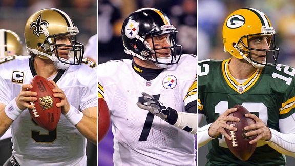 Drew Brees, Ben Roethlisberger, Aaron Rodgers