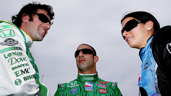 Dario Franchitti, Tony Kanaan and Danica Patrick