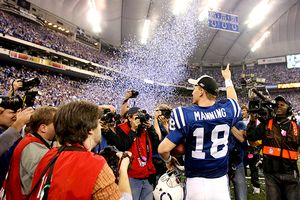 Peyton Manning with the Indianapolis Colts after beating the New England Patriots in the 2006 AFC Championship Game