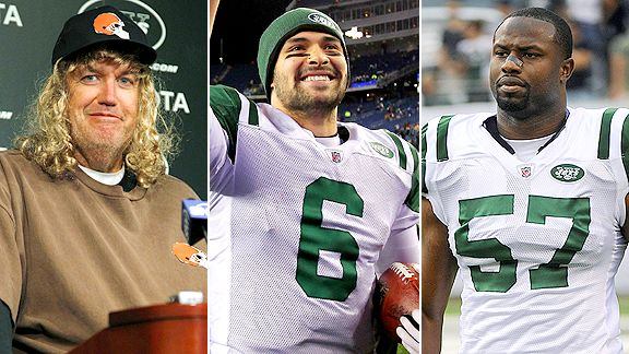 Rex Ryan, Mark Sanchez and Bart Scott