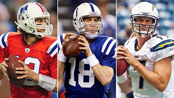 Tom Brady, Peyton Manning and Philip Rivers