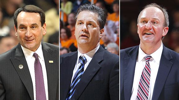 Mike Krzyzewski, John Calipari, and Thad Matta