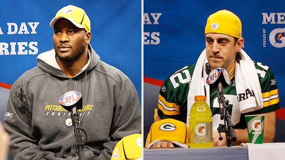 James Harrison, Aaron Rodgers