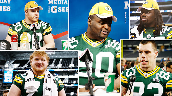 John Kuhn, B.J. Raji, Quinn Johnson, Tom Crabtree and T.J. Lang