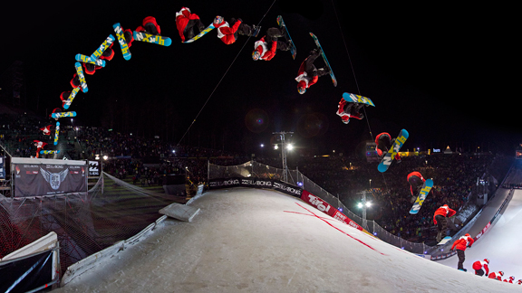 After winning his first X Games medal, McMorris went and won the Air & Style Innsbruck, with this trick: the double cork 1260 nosegrab, stomped.