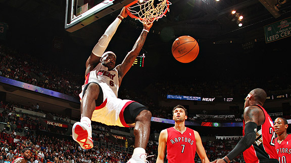 Victor Baldizon/NBAE/Getty Images LeBron James leads the Heat in dunking