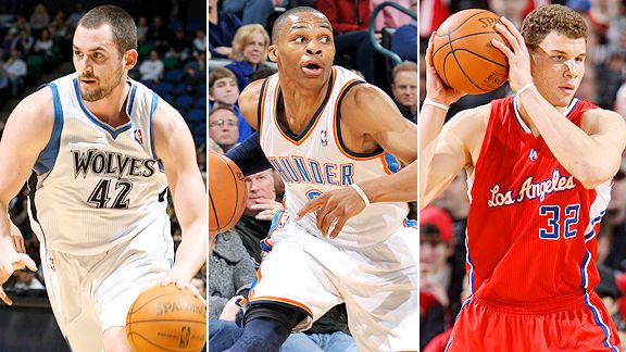 Kevin Love, Russell Westbrook and Blake Griffin