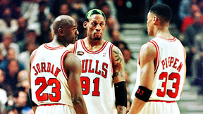 Michael Jordan and Scottie Pippen and Dennis Rodman of the Chicago Bulls