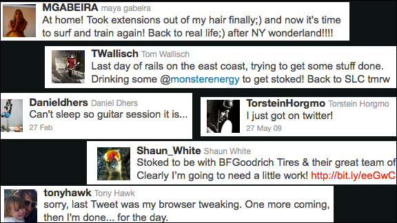Recent tweets from pro action sports athletes.
