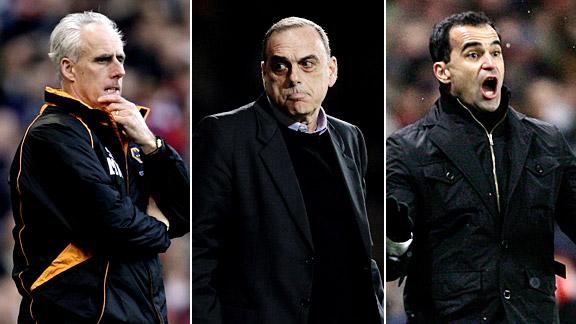 Wolves Mick McCarthy, West Ham United's Avram Grant and Wigan's Roberto Martinez