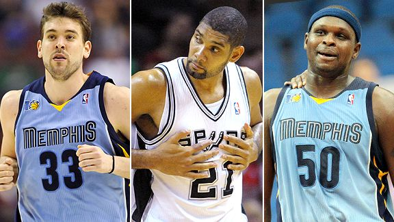 Marc Gasol, Tim Duncan and Zach Randolph