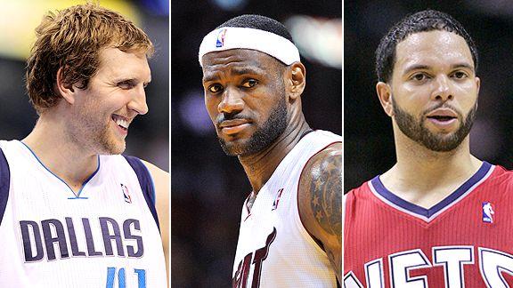 Dirk Nowitzki, LeBron James and Deron Williams