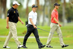 Martin Kaymer, Luke Donald and Lee Westwood