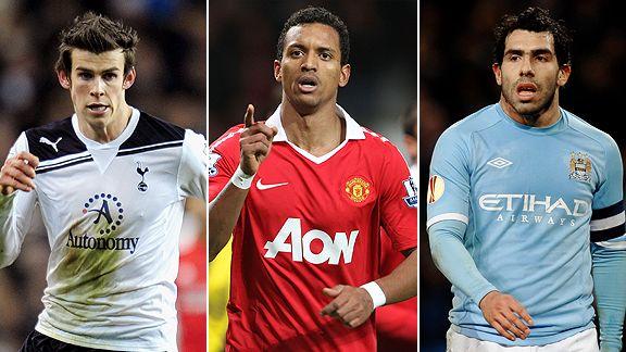 Gareth Bale, Nani and Carlos Tevez