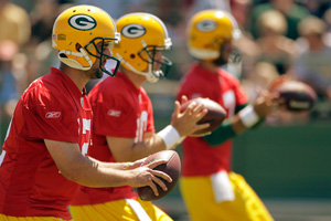 Aaron Rodgers, Matt Flynn and Graham Harrell