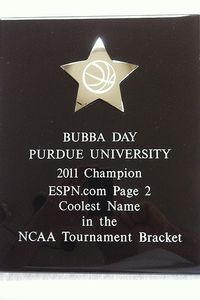 Bubba Day plaque