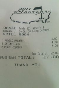 Masters Grill Room Receipt
