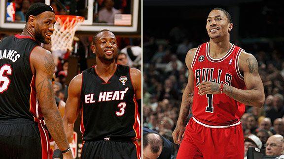 LeBron James, Dwyane Wade & Derrick Rose