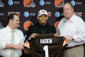 Tom Heckert and Joe Haden and Mike Holmgren