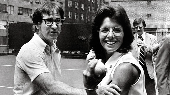 Long before Billie Jean King took on Bobby Riggs (left) in 1973's epic Battle of the Sexes, female athletes werebrtesting their mettle against men.
