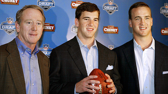 Archie Manning, Eli Manning of the New York Giants and Peyton Manning of the Indianapolis Colts